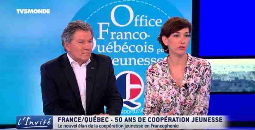 M. Beseme et M. Robitaille de l'Office franco-québécois pour la jeunesse interviewés par Patrick Simonin, TV5 Monde